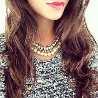 sweater grey sweater winter sweater jewels gold necklace gold necklace pearl white white pearls strass diamonds heels scarf