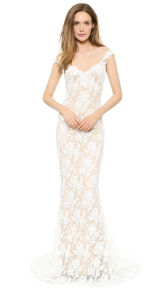 Reem Acra Lace Low Back Gown | SHOPBOP