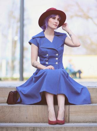 like a riot blogger blue dress retro