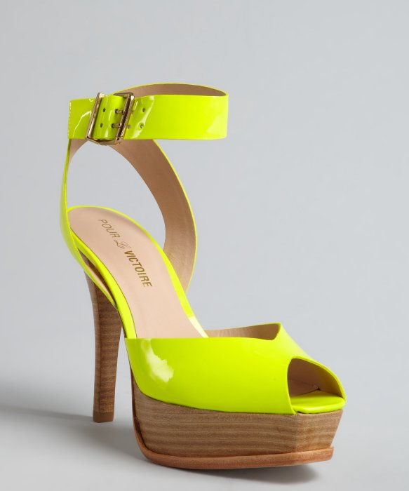 Pour la Victoire neon yellow patent leather peep toe