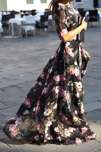 dress zaful lookbook black dress black floral maxi dress floral maxi dress fall dress streetstyle clutch streetwear