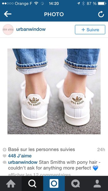 shoes stan smith gold poney