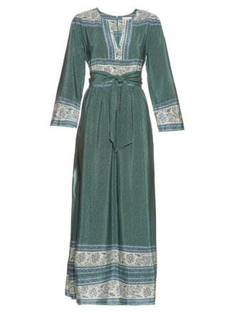 dress long print silk green