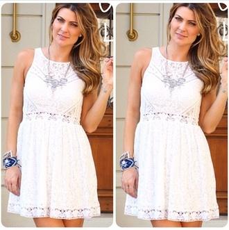 white dress littlewhitedress short cool graduation smile ring girl short dress white lace bracelets necklace brunette curly hair dress
