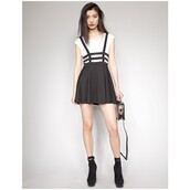 skirt,double cage,cage,double cage skirt,black,black skirt,suspenders,skirt with suspenders,kawaii,goth,pastel goth,casual goth,dungarees,shoes,girly,dress