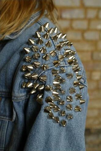 jacket girl studded jacket studs denim jacket silver