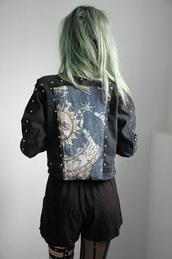 jacket,tumblr,shorts,denim,zodiac,sun,night,stars,moon,dark,blue,girl,grunge,pastel goth,goth,creepy,creepy kawaii,magician,coat,denim jacket,cute,black,cool,green,yellow,beautiful,pretty,love,black jacket,black jean jacket,hippie