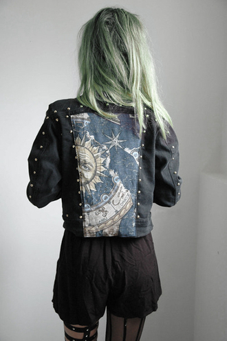 jacket tumblr shorts denim zodiac sun night stars moon dark blue girl grunge pastel goth goth creepy creepy kawaii print magician green hair green denim jacket jeans coat cute black cool yellow beautiful pretty love black jacket black jean jacket hippie