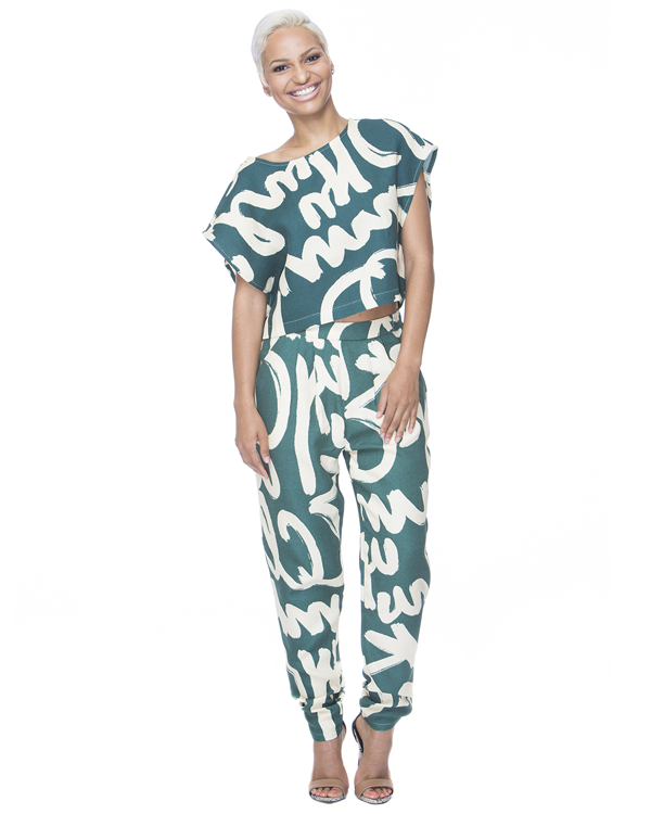 Different strokes graffiti pant set in jungle green – flyjane