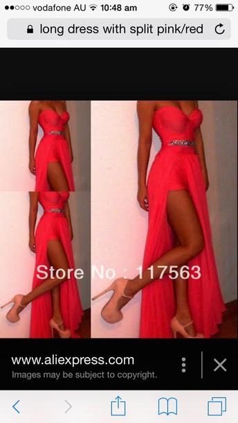 dress pink long slit slit maxi skirt