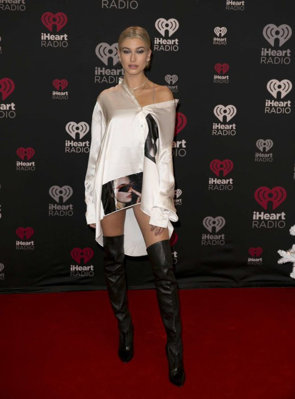 shirt shirt dress boots hailey baldwin model off-duty over the knee boots oversized