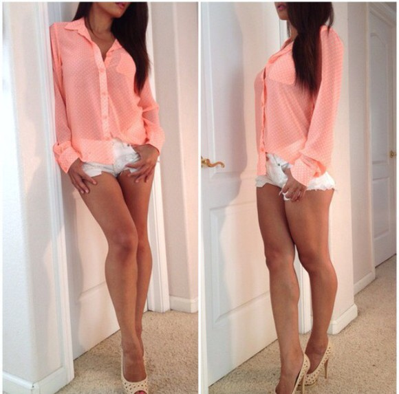 print blouse top sheer tank top style shoes heels color shorts white short dress pumps nude high heels polka dots pattern coral dress