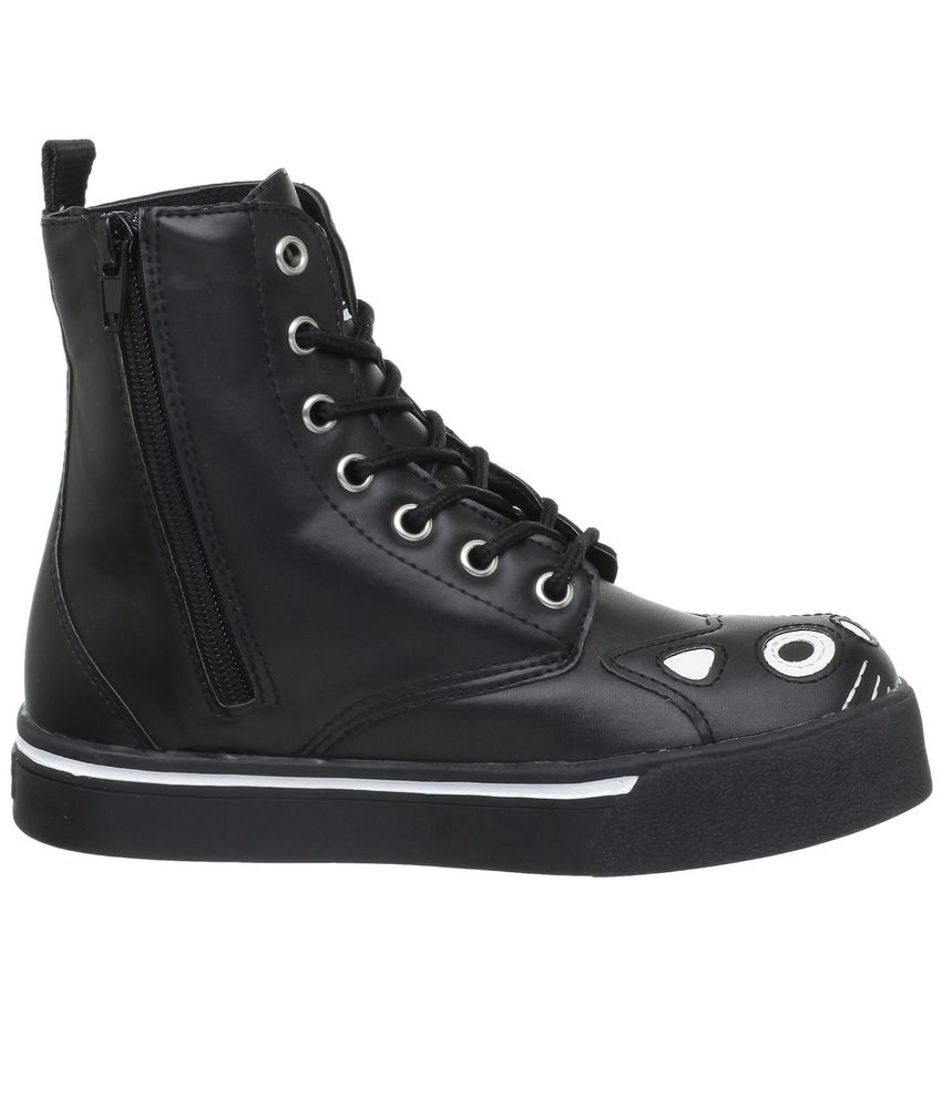 TUK KITTY COMBAT army BOOTS emo goth BLACK