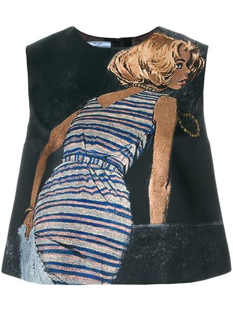 Prada top sleeveless top sleeveless women black silk wool