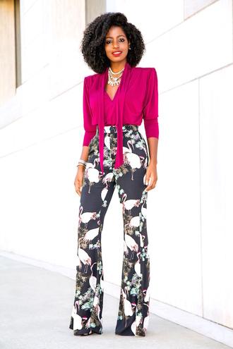 blogger blouse pants shoes flamingo printed pants fall outfits