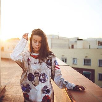 sweater print printed sweater space suit fall sweater winter sweater fusion brunette science style