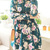 Long Sleeve Color Block Nipped Waist Vintage Style Floral Print Women's DressLong Sleeve Dresses | RoseGal.com