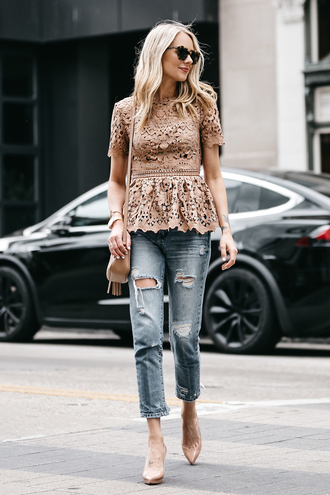 fashionjackson blogger top shoes bag sunglasses jewels beige top lace top spring outfits ripped jeans high heel pumps shoulder bag