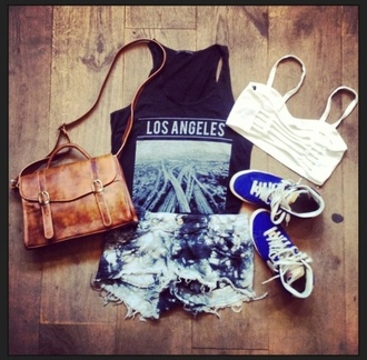 hipster la los angeles fashion cute summer outfit urban shorts shoes tank top style tumblr shirt underwear bag los angeles top losangeles t-shirt l.a. style black shirt with black vans purse tie dye shorts graphic tee leather bag brown vintage white