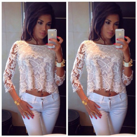 top white top floral