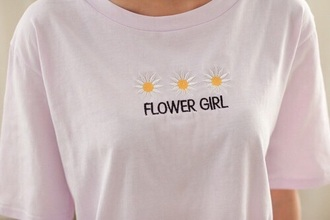 t-shirt white floral daisy flowers