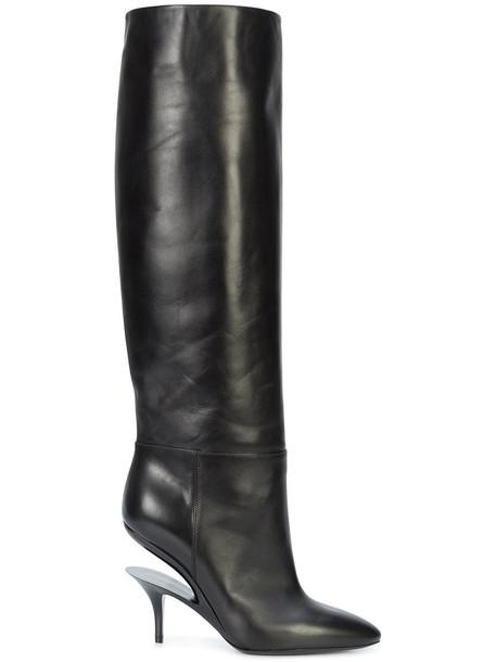 MAISON MARGIELA heel high women knee high boots knee high boots leather black shoes