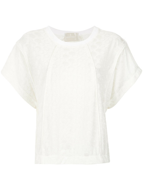 Lilly Sarti blouse women spandex white pattern top