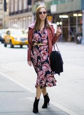 sydne summer's fashion reviews & style tips,blogger,dress,jacket,tank top,jeans,shoes,ankle boots,midi dress,fall outfits,red jacket,leather jacket