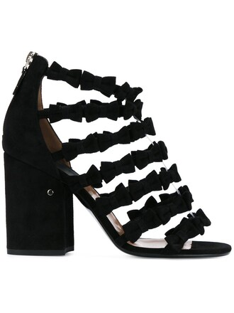 bow women embellished sandals leather suede black shoes