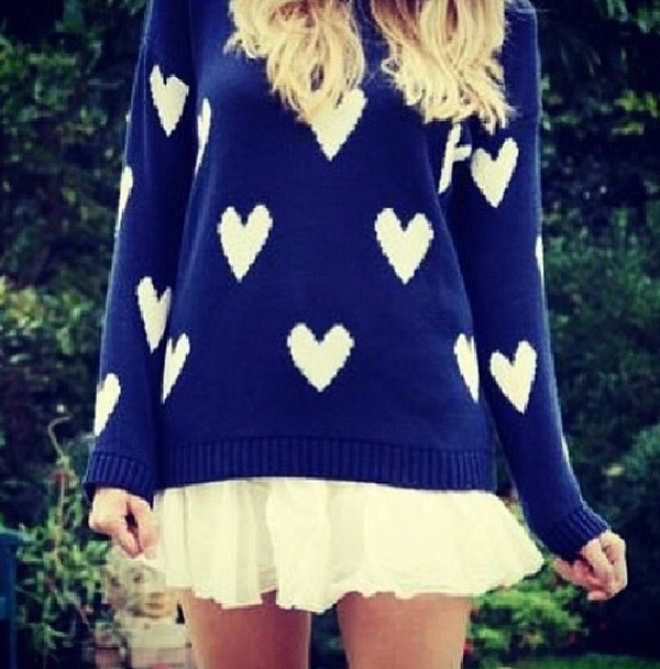 sweater dark blue blue white hearts heart cute jumper heart sweater