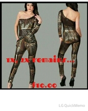 jumpsuit,gold,black,black and gold,gold catsuit,gold and black jumpsuit,gild and black romper,trina,one shoulder,clubwear,clubwear suit,club outfits