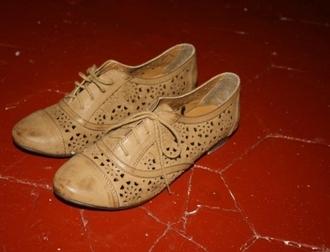 mosaic brown shoes simili leather flat