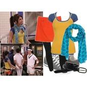 scarf,yellow tank top,blue t-shirt,orangeshirt orange skirt