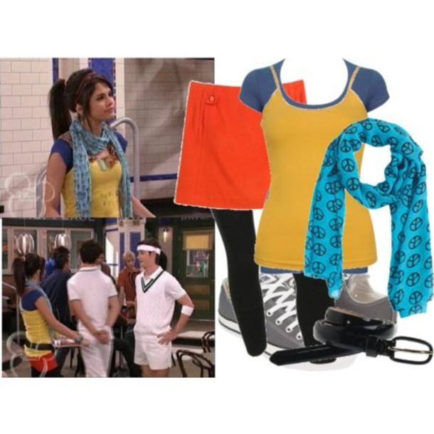 scarf yellow tank top blue t-shirt orangeshirt orange skirt