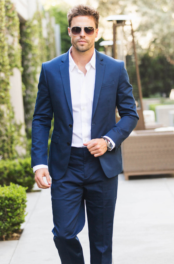 Navy Blue Cotton Sateen Photographer Suit Jacket from EXPRESS