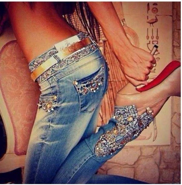 jeans white rhinestone jeans skinny pants bootcut cute