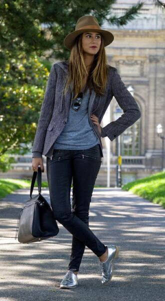 shoes grey blazer blue shirt brown hat silver oxford shoes blogger zipped pants