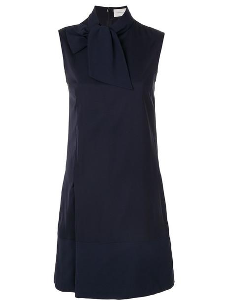 Victoria Victoria Beckham dress sleeveless women spandex blue silk