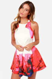 dress,skater dress,halter dress,halter neck,halter top,floral,white dress,white,pink,pink dress,blue,red