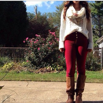 scarf boots fall sweater jeans fashion fall outfits fall scarves red jeans knit sweater scarf red