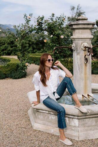 shoes tumblr mules nude shoes flats denim jeans blue jeans shirt white shirt