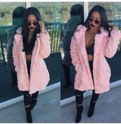 coat,jacket,baby pink,fur,pants,blouse,shoes,rose,de'arra taylor,faux fur coat,fur coat,pink fur coat,pink coat,pink