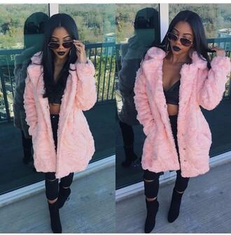 coat jacket baby pink fur pants blouse shoes rose de'arra taylor faux fur coat fur coat pink fur coat pink coat pink