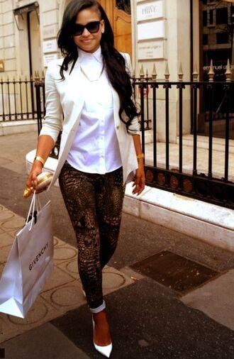 pants cassie pretty snake skin white blazer classy sexy