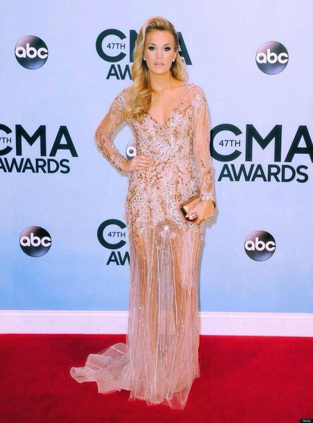 dress carrie underwood prom dress sequin dress long dress celebrity style gown