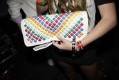 multicolor,white clutch,studded clutch,studded purse,bag