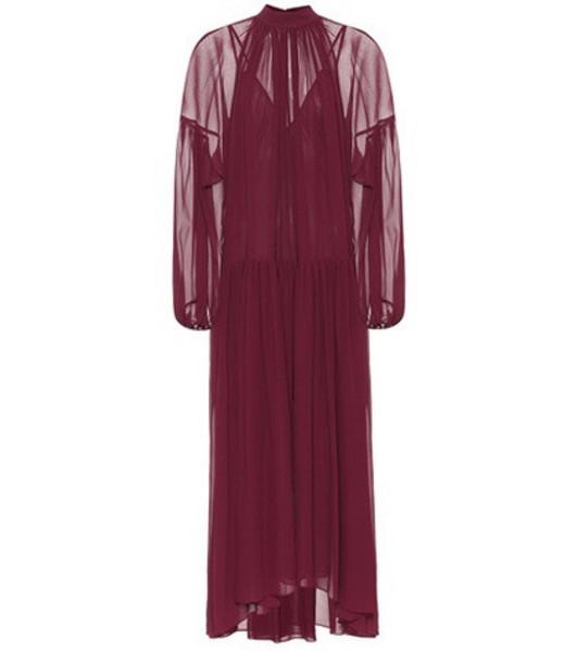 Stella McCartney Pleated silk dress in red