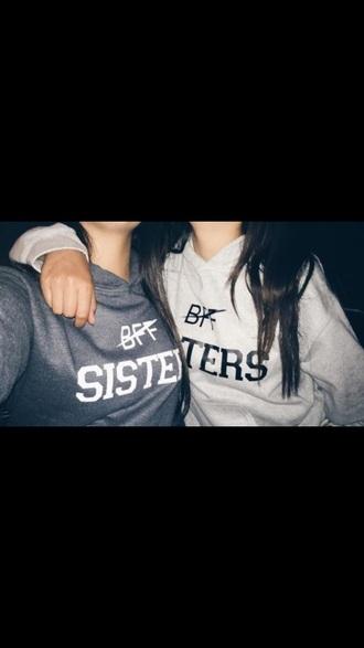 shirt sweatshirt grey white black bff bff matching sweaters bff shirts bff sweaters
