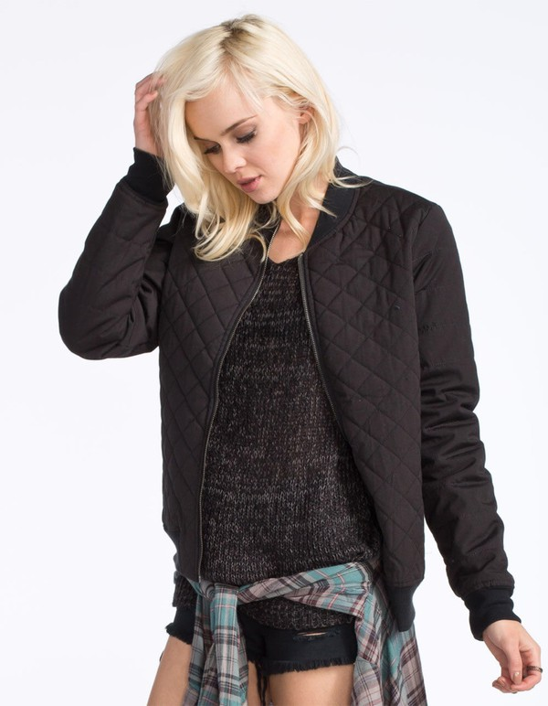 Jacket Indie Black Bomber Jacket Quilted Top Quilted
