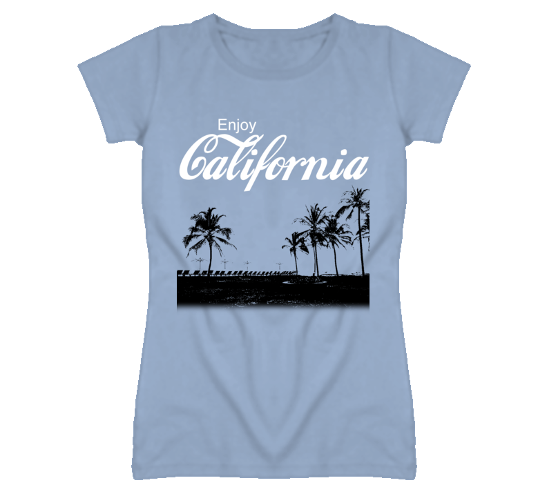 Enjoy California Cola Parody Graphic Palm Trees T Shirt